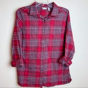 EUC Woolrich Red Flannel Button Down 100% Cotton M
